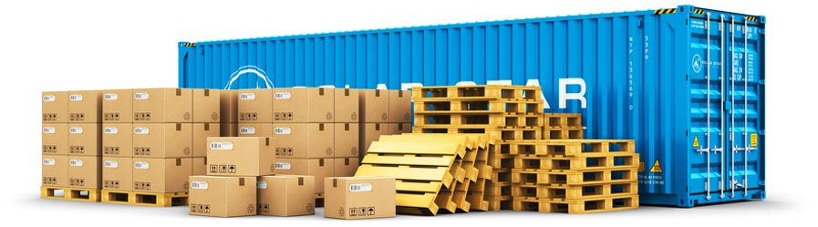 Cargo container and shipping pallets with cardboard boxes
