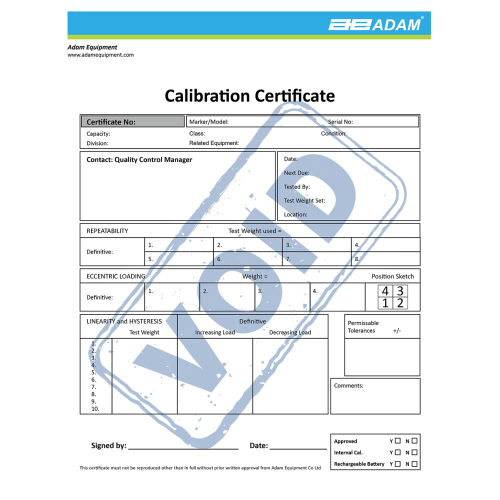 Calibration certificate for IHS, LHS, AFK 1320, GFK 1320, PTM