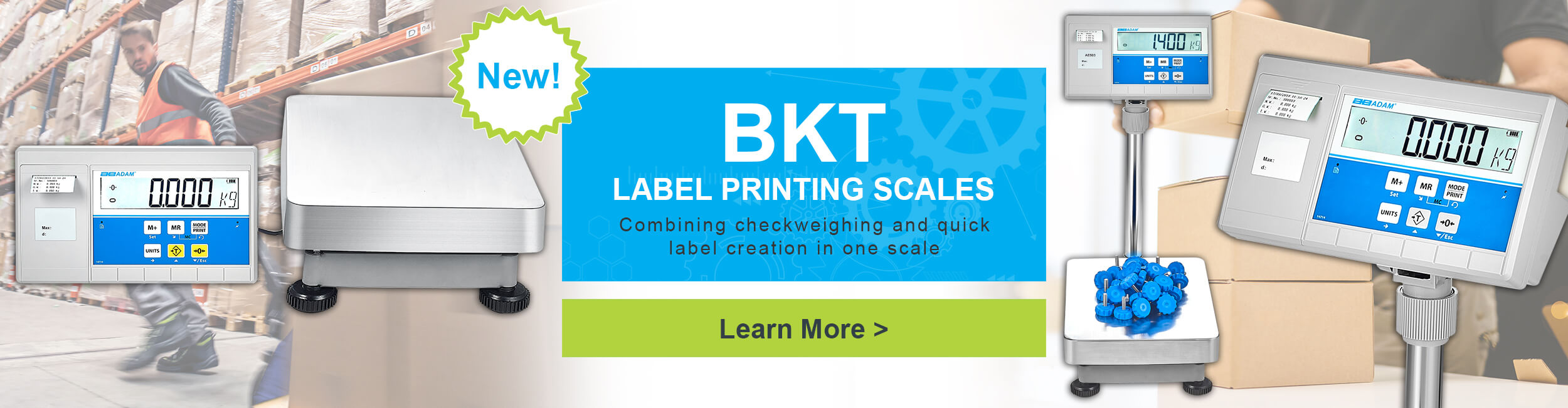 New! BKT Label Printing Scales. Combining checkweighing and quick label creation in one scale.