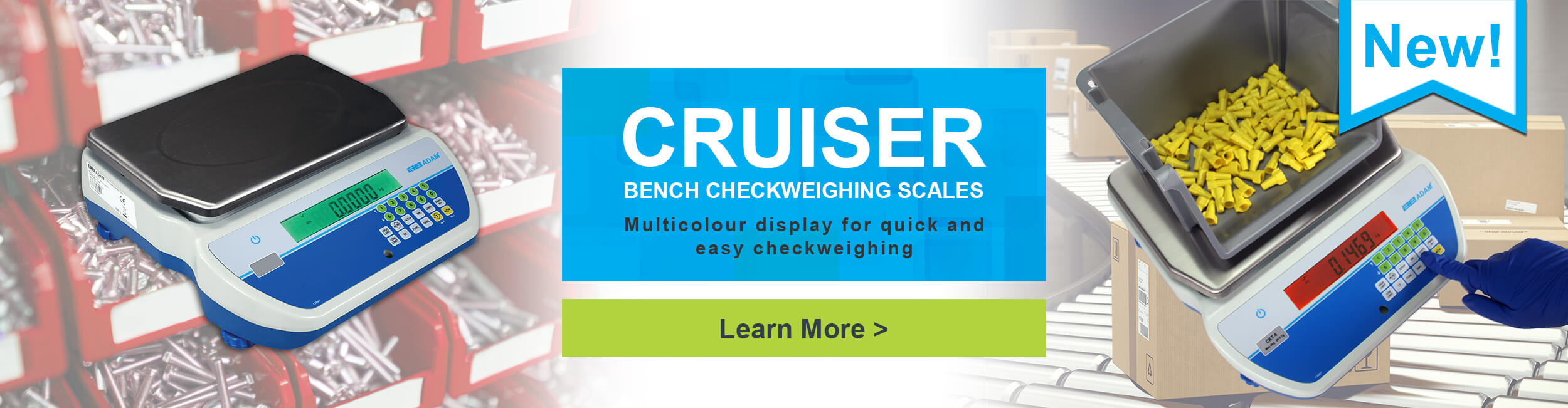 Adam Cruiser Bench Checkweighing Scales - multicolour display for quick and easy checkweighing