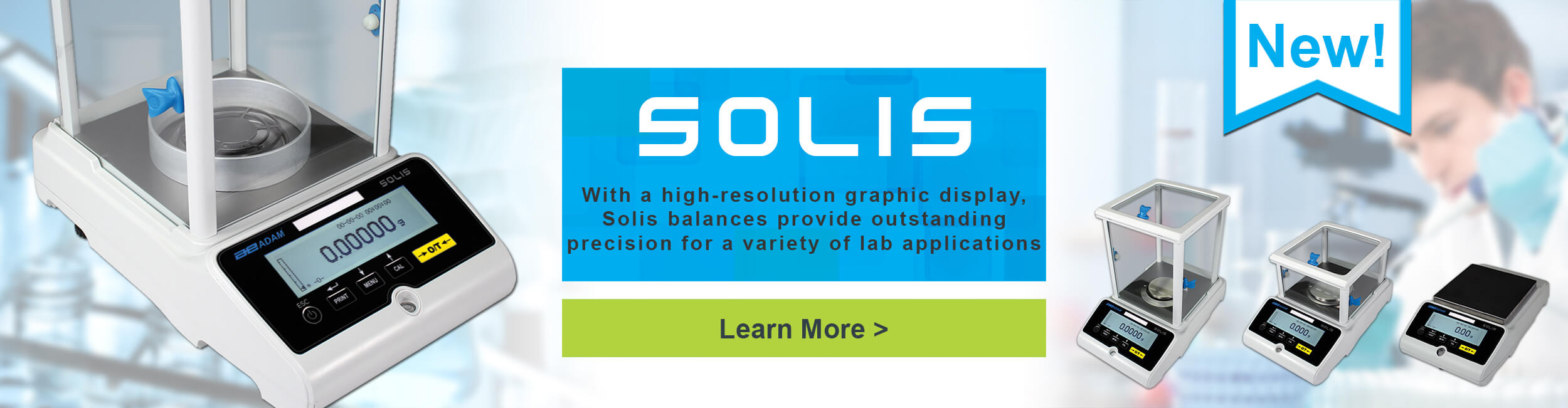 Solis - With a high-resolution graphic display, Solis balances provide outstanding precision for a variety of lab applications.